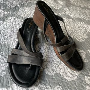 Cole Haan — Black Strappy Wooden Wedge Sandals